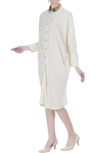 Beaded collar midi length dress