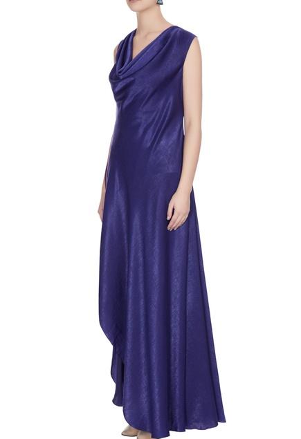 Blue & maroon satin cowl neckline gown with slit
