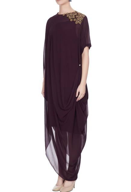 Eggplant georgette draped style dress