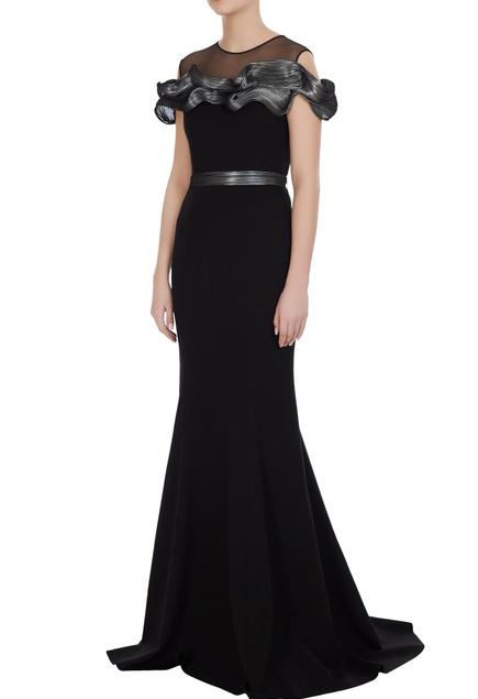 Black & silver luxury crepe gown with long trail