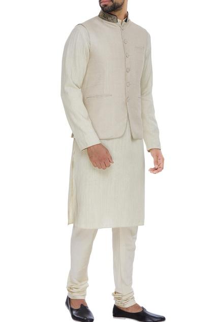 Jute silk nehru jacket set