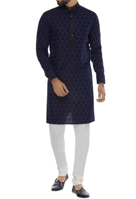 Printed navy blue kurta