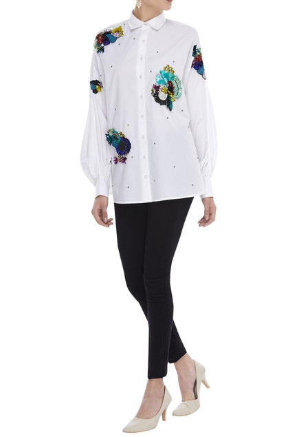 Batwing sleeve 3D embroidered shirt