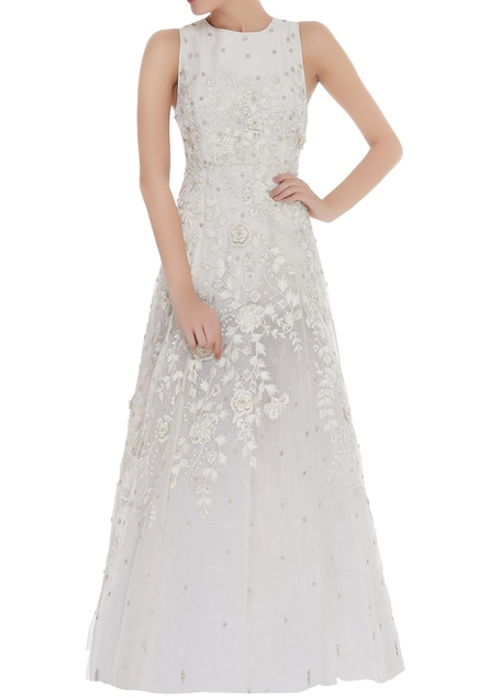 Sequin & Cutdana Embroidered Flared Gown