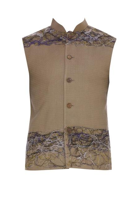 Embroidered collar nehru jacket