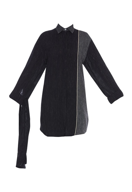 Paneled Shirt With Drape Detailing