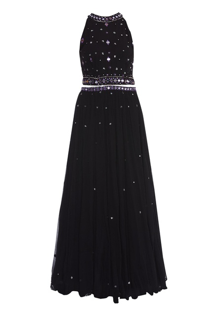 Embroidered cut-out anarkali gown
