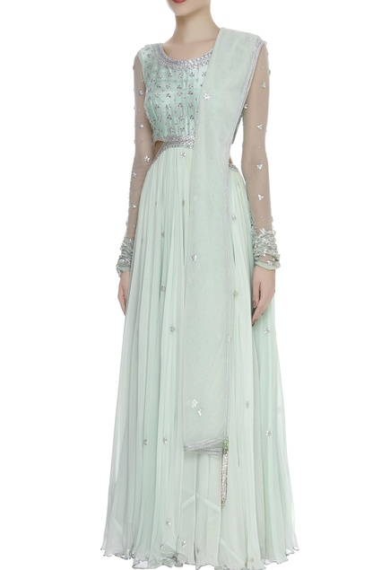 Zardozi embroidered cut-out gown with dupatta