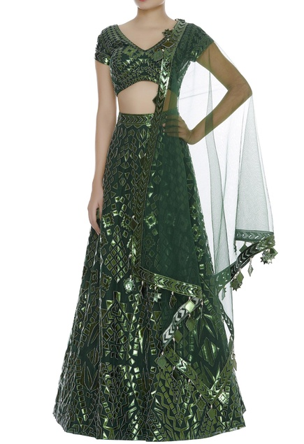 Applique Leather Embroidered Lehenga Set