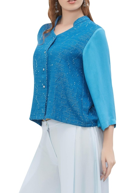 Embroidered flared sleeve shirt
