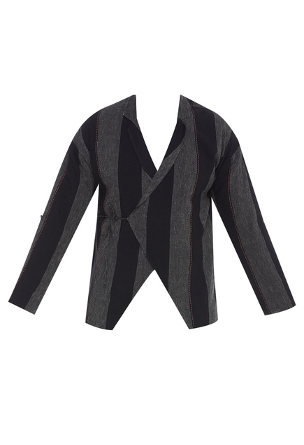 Striped wrap jacket with tie-up