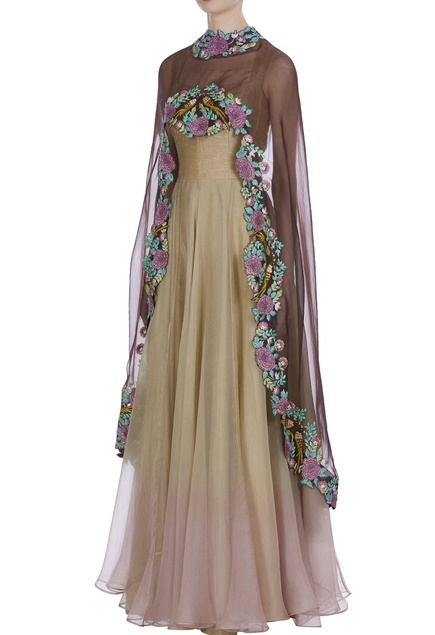Gown with embroidered cape