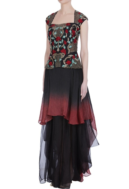 Embroidered peplum top with layered skirt