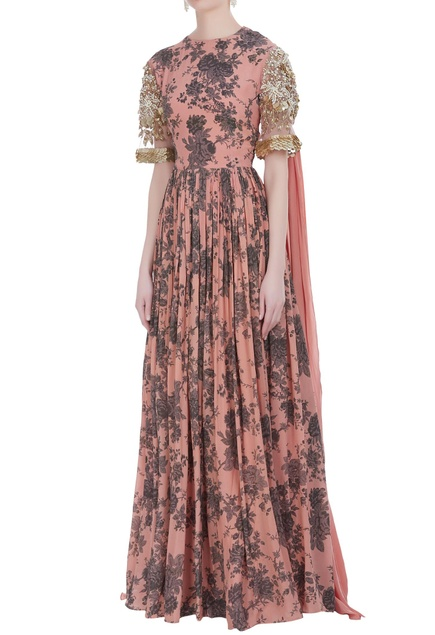 Floral printed gown with draped dupatta