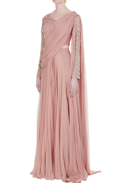 Pleated drape sari with embroidered blouse