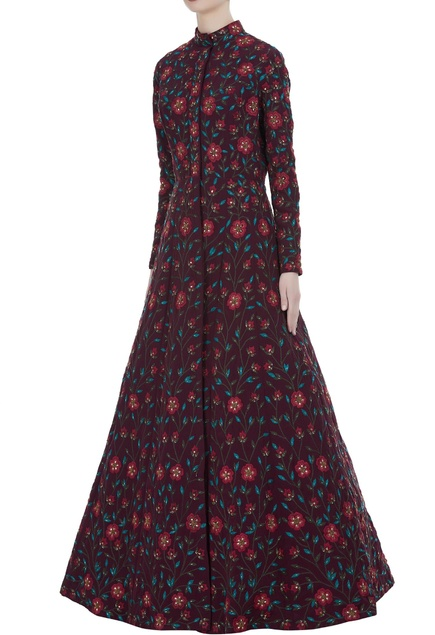 Floor length floral embroidered gown