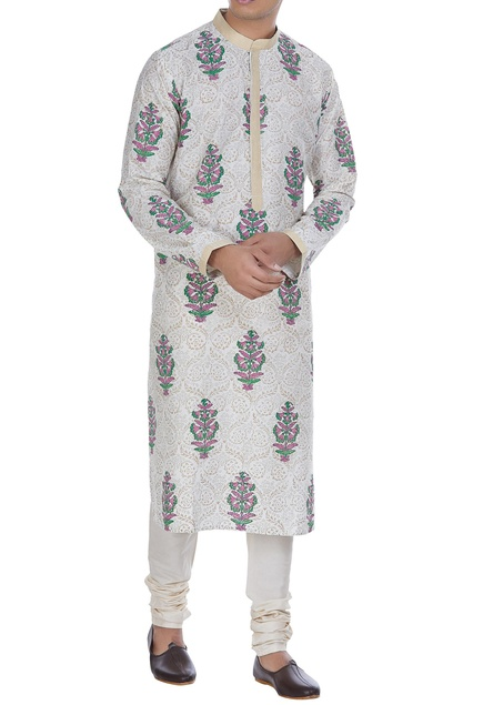 Block print kurta with side slit