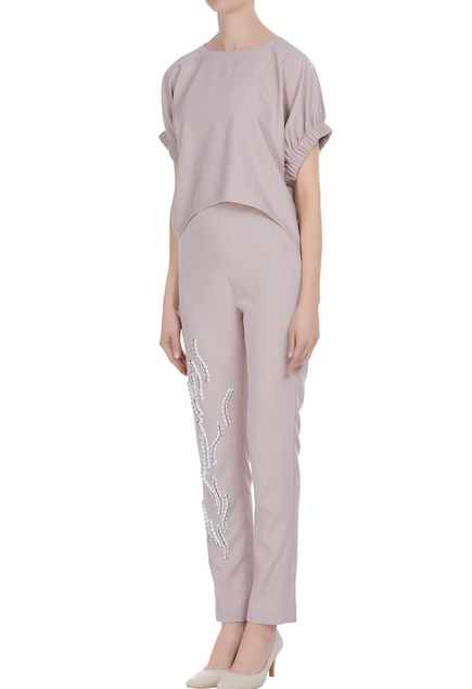 Boxy blouse with sequin embellished straight fit pants