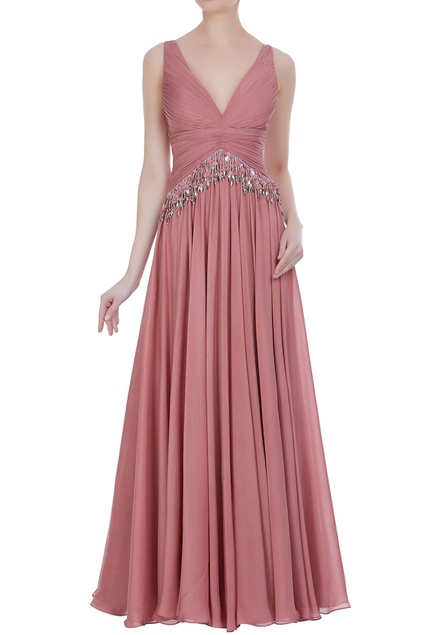 Sequin tassel pleated gown