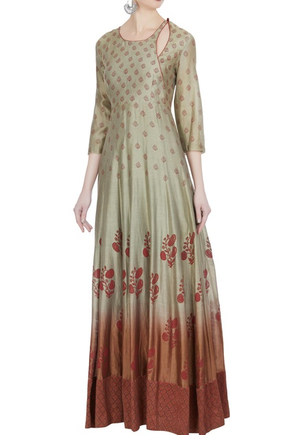 Ombre kurta with flower print