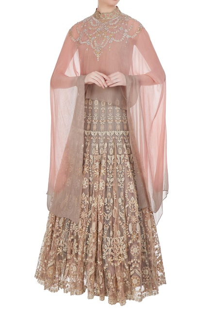 Embroidered lehenga with flared sleeves cape top