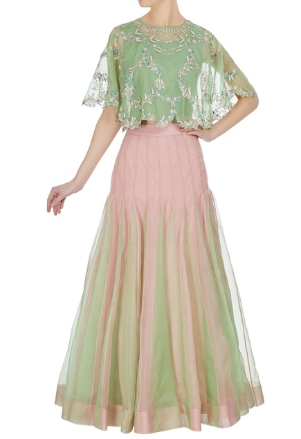 Embroidered cape top with pleated lehenga