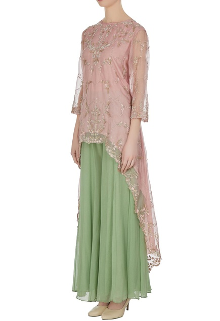 High-low embroidered tunic with sharara pants