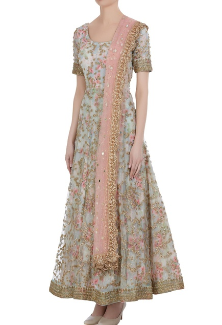 Hand embroidered zardozi anarkali set