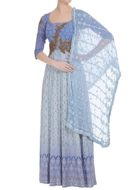 Lucknowi embroidered pure georgette anarkali gown with dupatta