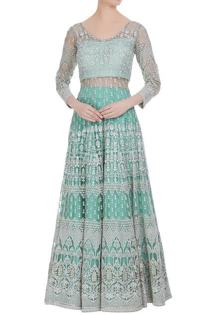 Net lucknowi thread embroidered anarkali lehenga set