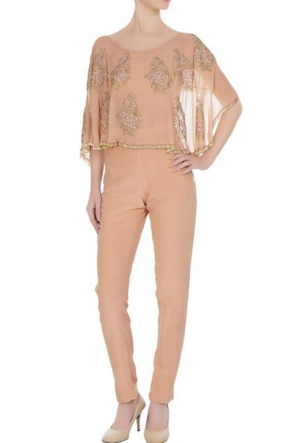 Embroidered cape with bustier & pants