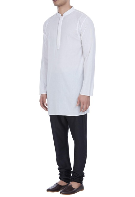 Embroidered short kurta with button placket