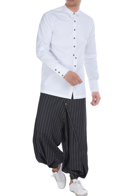 Side slit button down placket shirt