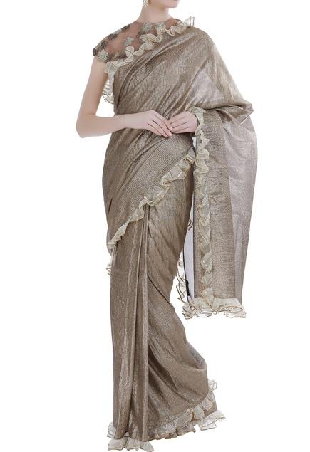 Lurex linen sari with blouse