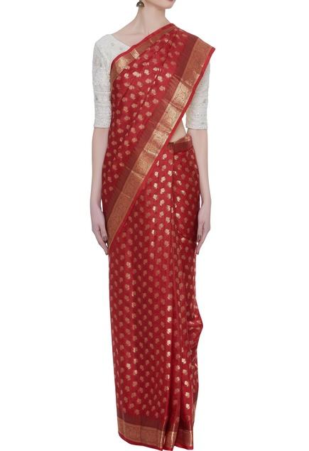 Handwoven katan silk sari with unstitched blouse