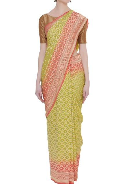 Mysore georgette sari with unstitched blouse