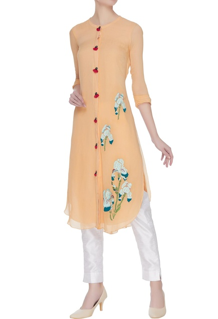 Long kurta with resham embroidery