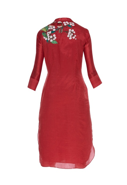 Floral embroidered kurta with bead work