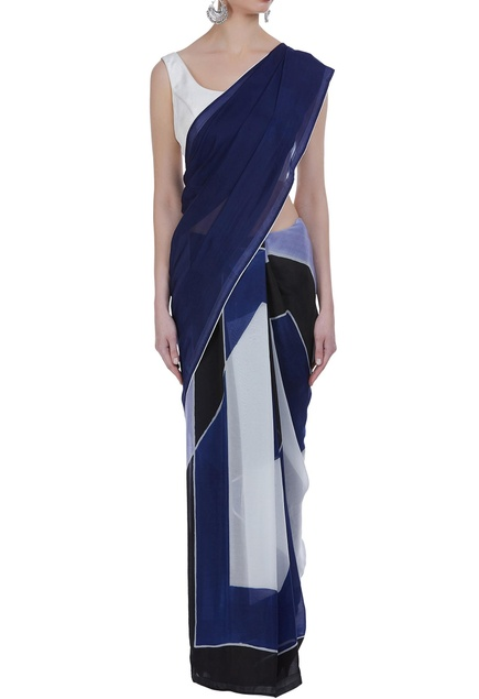 Color-block hand painted sari with unstitched blouse