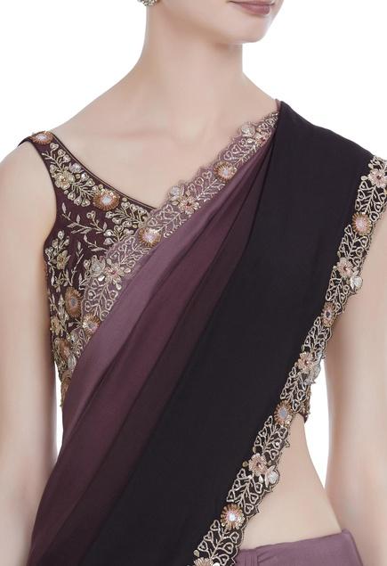 Zardozi and mirror work ombre sari with blouse