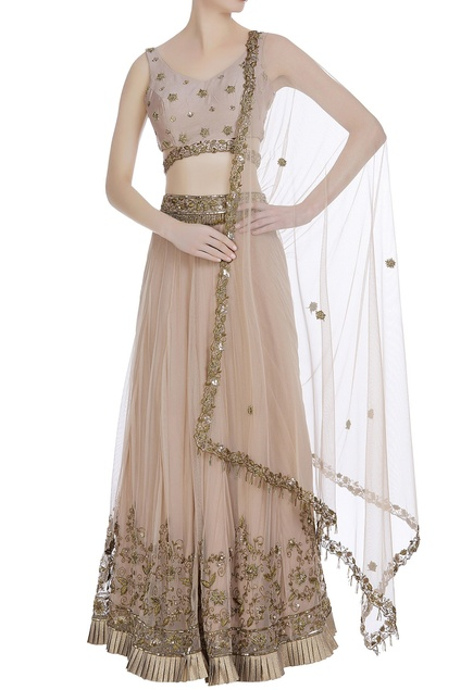 Gota and zardozi hand work lehenga set