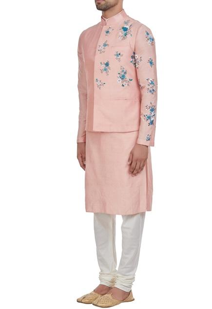 Flower printed nehru jacket