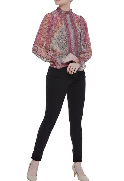Chiffon floral-paisley printed high neck blouse
