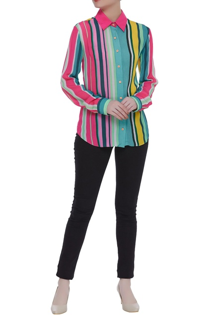 Crepe silk stripe pattern shirt