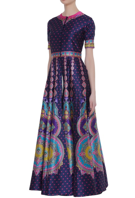 Printed full length gown