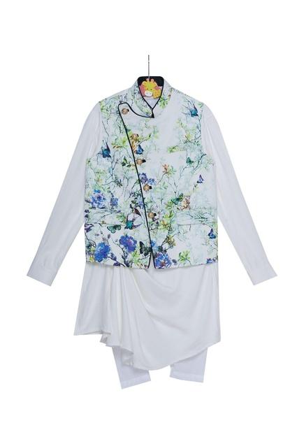 Printed jacket with cowl pleated kurta and churidar