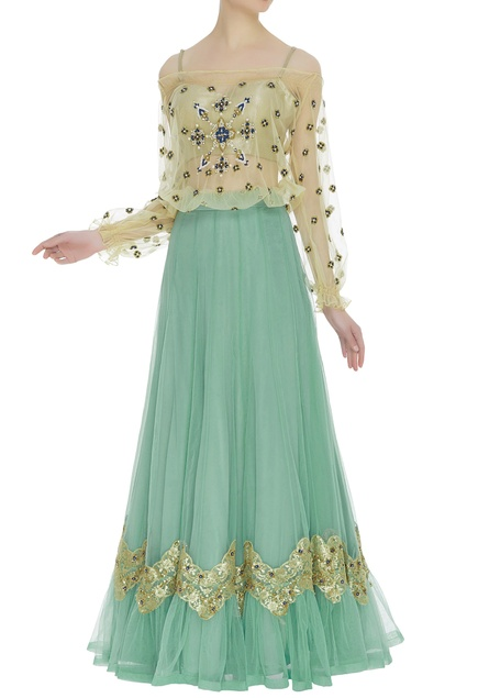 Embroidered top with net lehenga & bustier