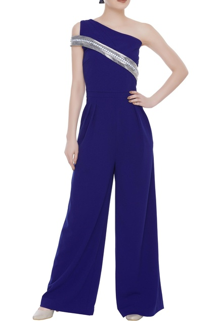 Scuba georgette sequin embroidered one-shoulder jumpsuit