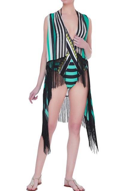 Striped tassel cape cover up