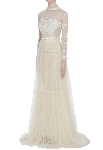 Zardozi fish net & lace trail gown with pants